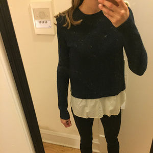 J Crew navy sweater with faux blouse at the bottom